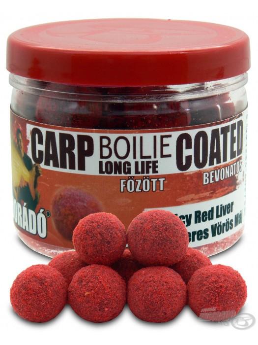 Haldorádó Carp Boilie Long Life Coated - Fűszeres Vörös Máj / Spicy Red Liver (Korenistá Červená Pečeň)